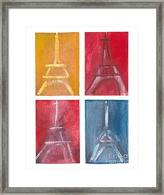 Eiffel Tower Paintings Of 4 Up Framed Print by Robyn Saunders