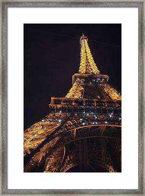 Eiffel Tower Paris France Illuminated Framed Print