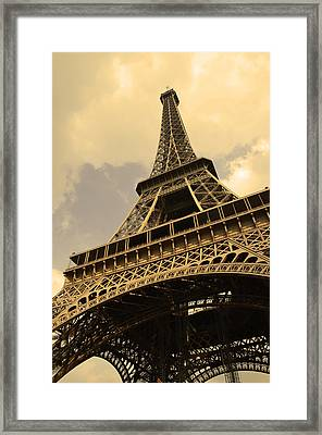 Eiffel Tower Paris France Sepia Framed Print