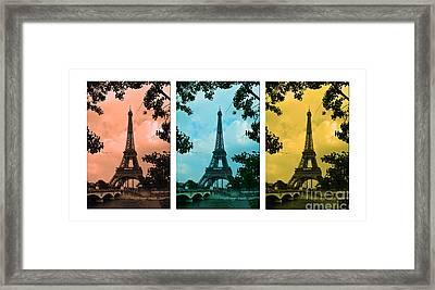 Eiffel Tower Paris France Trio Framed Print