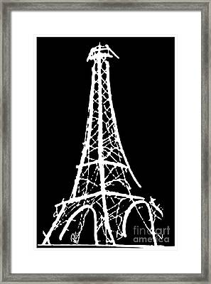 Eiffel Tower Paris France White On Black Framed Print