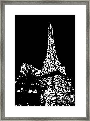 Eiffel Tower Paris Hotel Las Vegas - Pop Art - Black And White Framed Print by Ian Monk