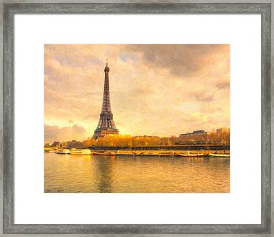 Eiffel Tower - Paris In Pastel Framed Print by Mark E Tisdale