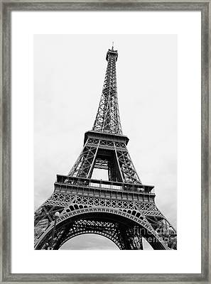 Eiffel Tower Perspective - Black And White Framed Print