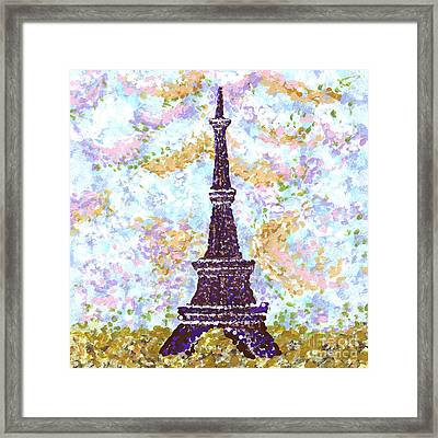 Eiffel Tower Pointillism Framed Print by Kristie Hubler