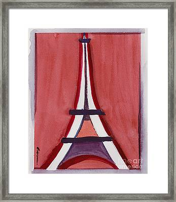 Eiffel Tower Red White Framed Print