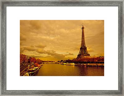 Eiffel Tower Rising Over The Seine Framed Print by Mark E Tisdale