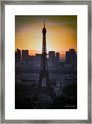 Eiffel Tower Sunset Framed Print by Debra     Vatalaro