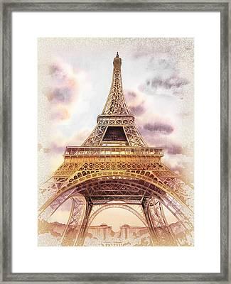 Eiffel Tower Vintage Art Framed Print by Irina Sztukowski
