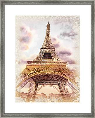 Framed Print featuring the painting Eiffel Tower Vintage Art by Irina Sztukowski