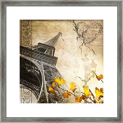 Eiffel Tower Vintage Collage Framed Print by Delphimages Photo Creations