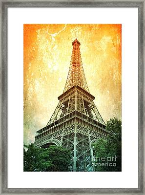 Eiffel Tower Warmth Framed Print by Carol Groenen