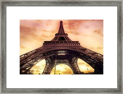 Eiffel Tower In Paris With Sunset Pink And Orange Framed Print by Lynn Langmade