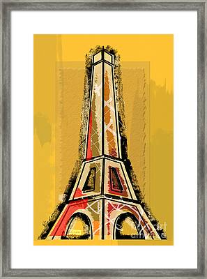 Eiffel Tower Yellow And Red Framed Print
