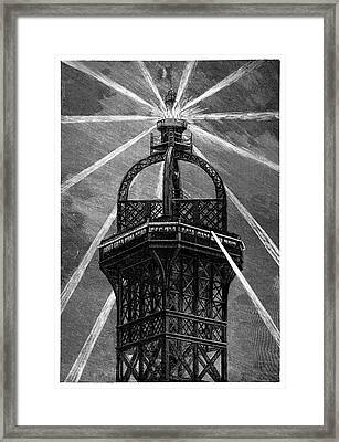 Eiffel Tower's Electric Lamp Framed Print by Science Photo Library