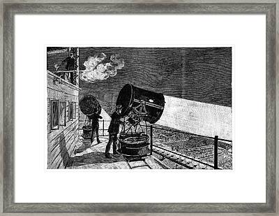 Eiffel Tower's Searchlights Framed Print by Science Photo Library