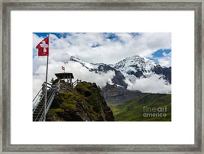 Eiger And Monk In The Clouds - Swiss Alps Framed Print by Gary Whitton