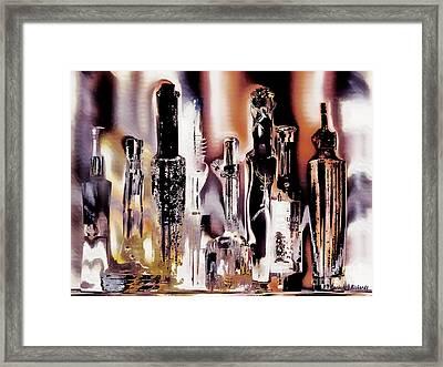 Eight Bottles Framed Print by Barbara D Richards