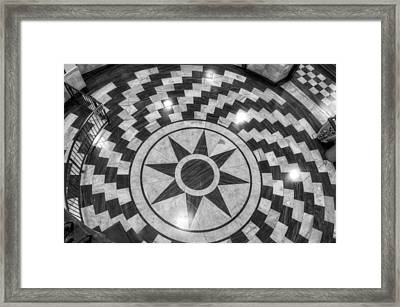Eight Pointed Star In Black And White Framed Print