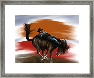 Eight Seconds - Rodeo Bronco Framed Print