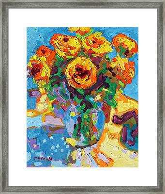 Eight Yellow Roses Oil Painting Bertram Poole Apr14 Framed Print