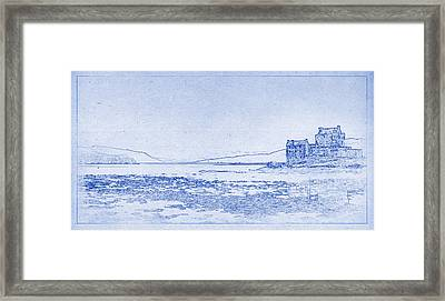 Eilean Donan Castle Blueprint Framed Print by Kaleidoscopik Photography