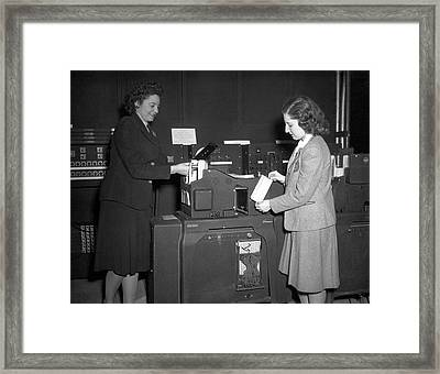 Einac Programmers With Punch Card Machine Framed Print by American Philosophical Society