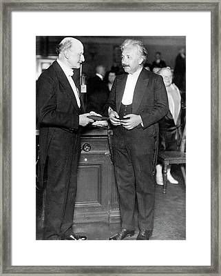 Einstein And Max Planck Framed Print