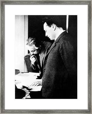 Einstein And Pauli Framed Print
