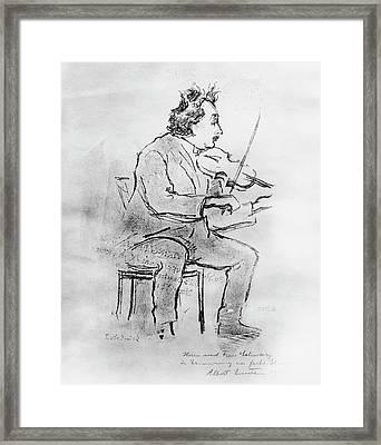 Einstein Playing The Violin Framed Print