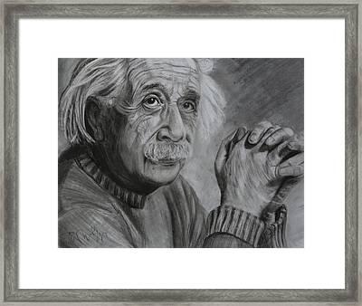 Einstein Portrait  Framed Print by Megan Wood