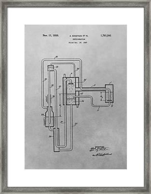 Einstein Refrigerator Patent Drawing Framed Print