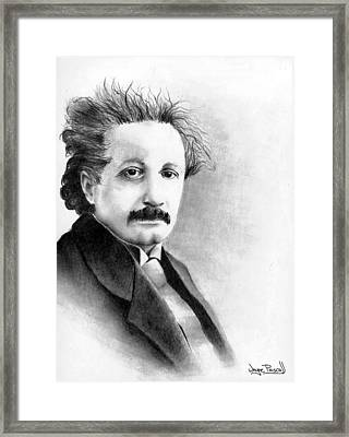 Framed Print featuring the drawing Einstein by Wayne Pascall