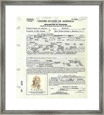 Einstein's Immigration Declaration Framed Print by Emilio Segre Visual Archives/american Institute Of Physics
