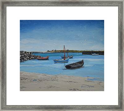 Eirlough Boats Roundstone Connemara Ireland Framed Print