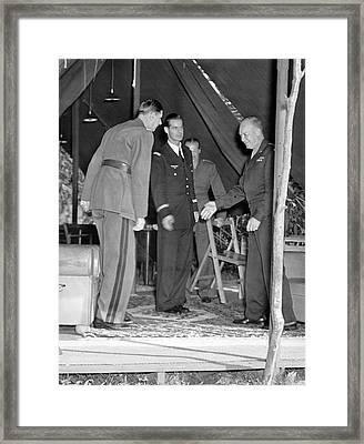 Eisenhower Greets De Gaulle Framed Print