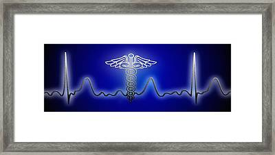 Ekg With Caduceus Symbol Framed Print