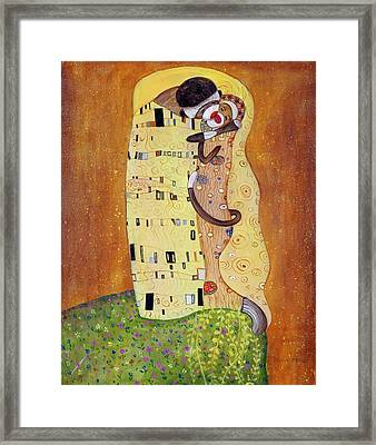 Framed Print featuring the painting The Smooch by Randol Burns