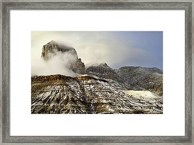 El Capitan Emerging Through The Clouds Framed Print