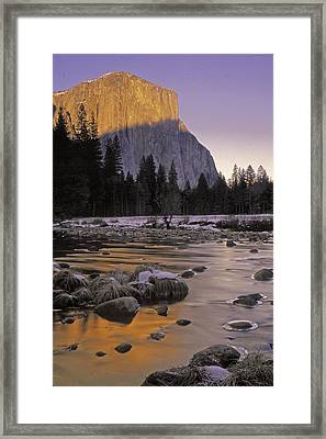 El Capitan Sunset And The Merced River Framed Print