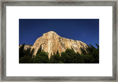 El Capitan Under A Starry Moonlit Night Framed Print