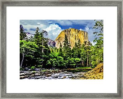 El Capitan Yosemite River Painting Framed Print