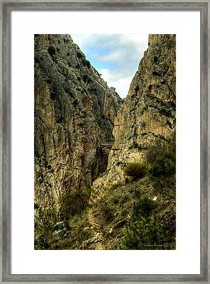 Framed Print featuring the photograph El Chorro View Of The Railway Bridge by Julis Simo