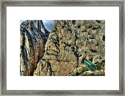 Framed Print featuring the photograph El Chorro View With Railway Construction by Julis Simo