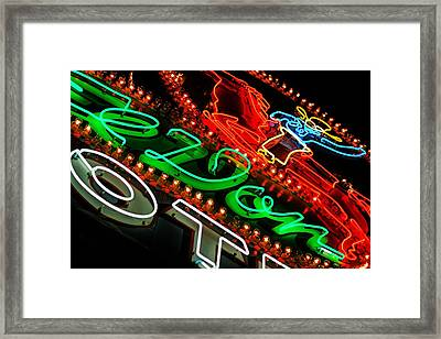 Framed Print featuring the photograph El Don Neon by Daniel Woodrum