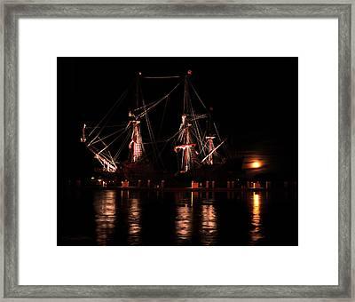 El Galeon At Full Moon Framed Print