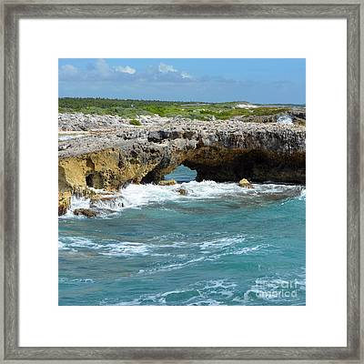 El Mirador Natural Rock Arch Bridge East Coast Of Cozumel Mexico Square Format Framed Print by Shawn O'Brien