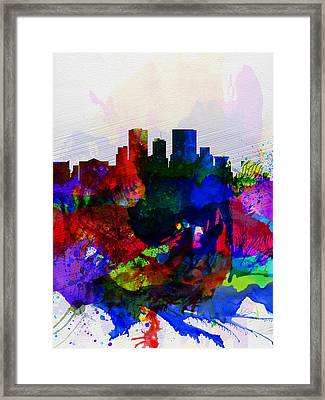 El Paseo Watercolor Skyline Framed Print