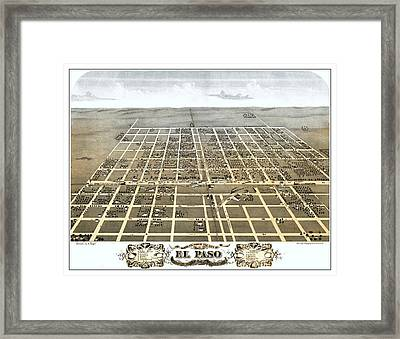 El Paso Illinois 1869 Map Framed Print by Stephen Stookey