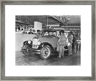 El Patio Auto Laundry Framed Print by Underwood Archives